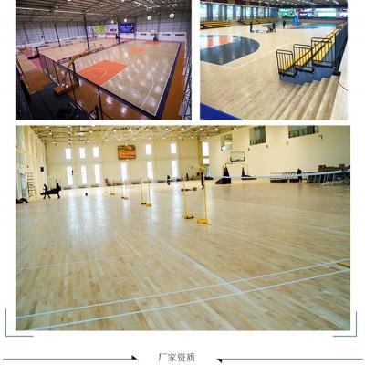篮球馆运动木地板室内羽毛球场学校体育舞台防滑专用实木地板厂