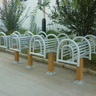天津直供公园健身路径塑木伸腰展背架健身器材厂家直销